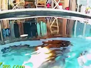 Brunette Beauty Topless Strip Underwater