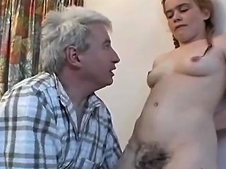 18 Year Old Redheaded Girl Makes A Blowjob To An Old Man Drtuber