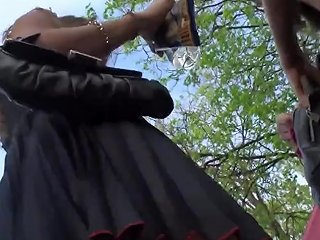 Stupid Girls In Too Short Dresses Exposing Their Big Asses Caught On Spycam