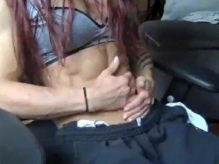 Ripped Cam Girl Posing