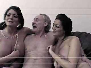Horny Brunette Twins Have Group Sex In Kinky Knee High