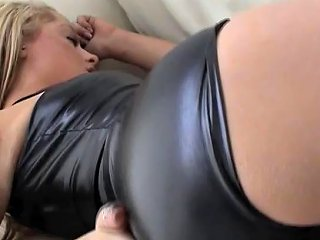 Teasing Your Hard Cock With My Shiny Black Pvc Panties