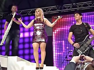 Beatrice Egli Singer Sits On Chair Pussy Upskirt Stage