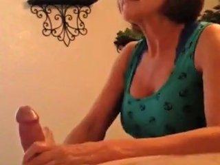 Hot Mature Milf Sensually Stroking Cock During Wax