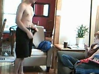 Guy Strips And Jerks In Front Of Unsuspecting Friend