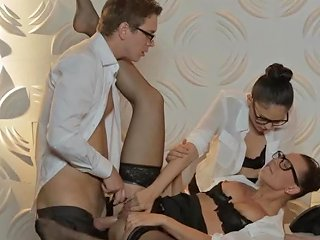 Two Office Whores Suck Off Their Boss Hd Porn 1e Xhamster