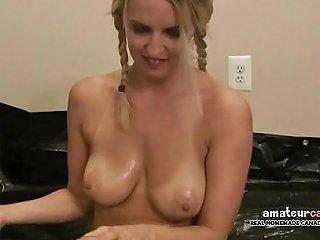 Stupid Girl Bikini Blonde Rolls In Oily Tarp Wet And