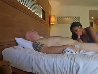 Ebony Makes Nice Massage And Blowjob Then Eats My Cum