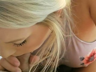Blonde Girl With Braces Sucks Cock For Cum