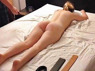 Amateur Blonde Teen Spanking Session Belt Cane Paddle