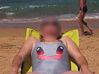 Girl Leaving Water Wet Swimsuit Is Transparent Shows Her
