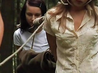 Two Innocent Girls Caught By Lesbian Huntress And Tied