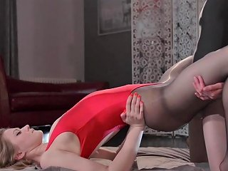 Lesbian Girl In Pantyhose And Leotard Strapon Fucks Her