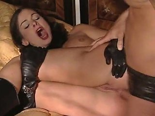 Cute Lucy Lee In Long Leather Gloves Boots And Peaked