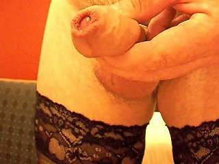 My Uncut Cock Stockings Lots Of Pre Cum Gay Cock Cum