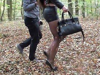 Submissive Slut Hooker Handcuffed Spandex Miniskirt