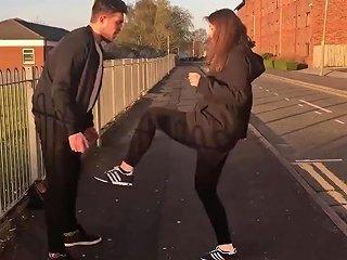 German Girls Ballbusting