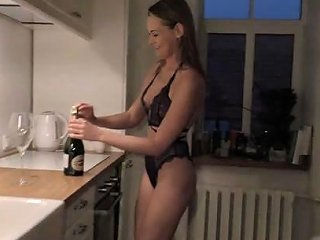 Becky In Lingerie And Socks Drinking Champagne And Using Thick Glass Dildo Nebraskacoeds