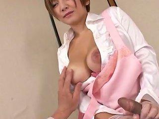 Busty Asian Massage Therapist Meguru Kosaka Gives Her Patient A Handjob