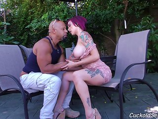 Tattooed Milf Cuckolding Her Hubby While Fucking A Monster Cock