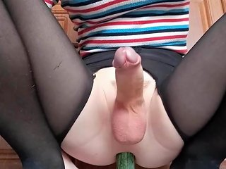 Playing With Cucumber And Jerking Until Cumming Tranny