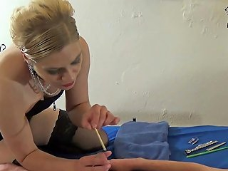 Housewife Femdom During Painful BDSM Fetish Session With Catheter In German Amateur Slave Cock
