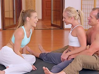 Yoga Coach Bangs Two Flexible Babes At The Gym