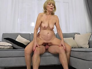 Saggy Tits Grandma Loves To Fuck His Young Erection