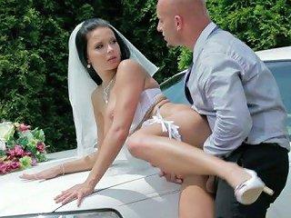 Extravagant Bride Victoria Blaze Gets Doggyfucked Over The Limousine