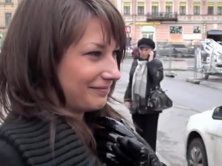 Sexy Smiling Brunette Is Fucking With Two Dicks