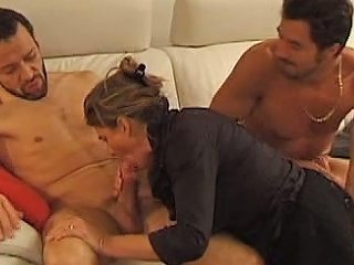 Mature Photographer Gets Sandwiched Anal Facial