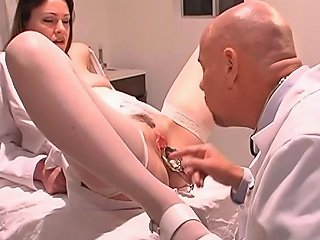 Doctor Inserts Speculum In Rosy Titted Nurse's Wide Open