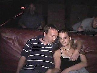 Horny Teenager Fucks In Gangbang Porno Theater