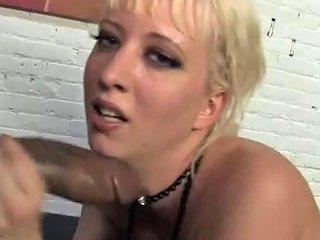Blonde Skank Gets Fucked By Black Dudes
