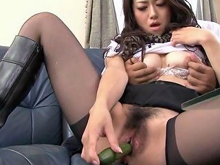 Horny Japanese Slut Pounded With Vegetables
