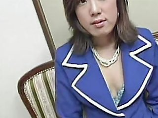 Cute Short Haired Young Asian In Garter Belt Sucks And